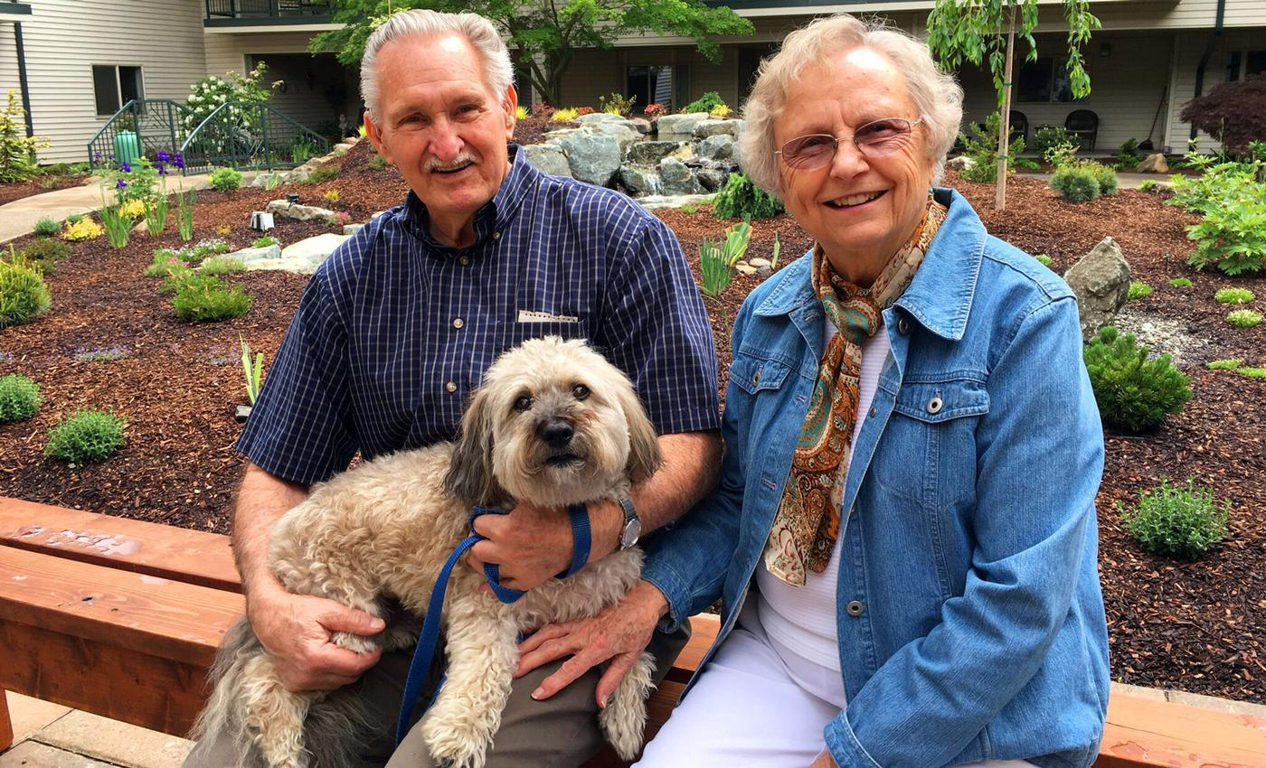 Old folks with dog